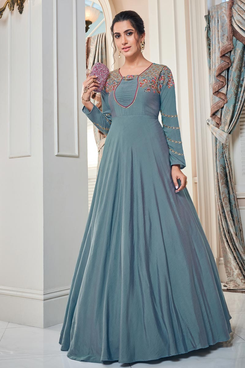 Art Silk Function Wear Designer Embroidered Readymade Gown In Cyan