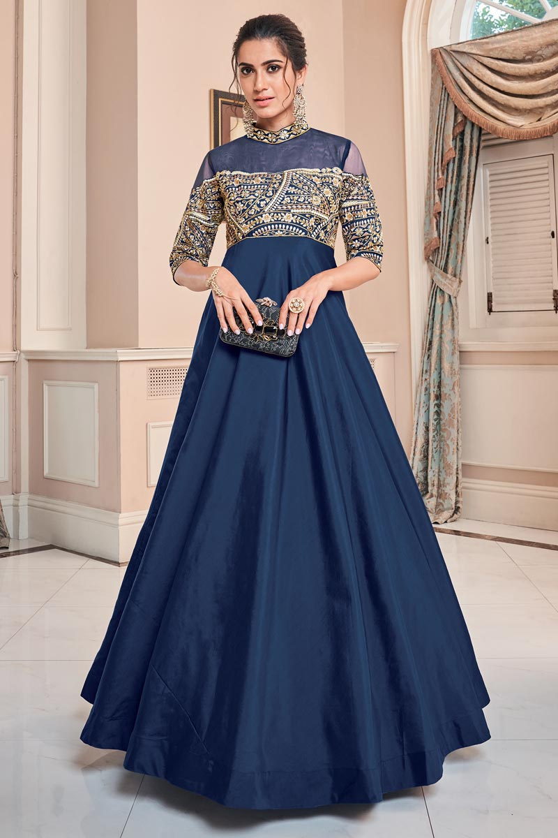 Eid Special Designer Function Wear Art Silk Navy Blue Embroidered Readymade Gown