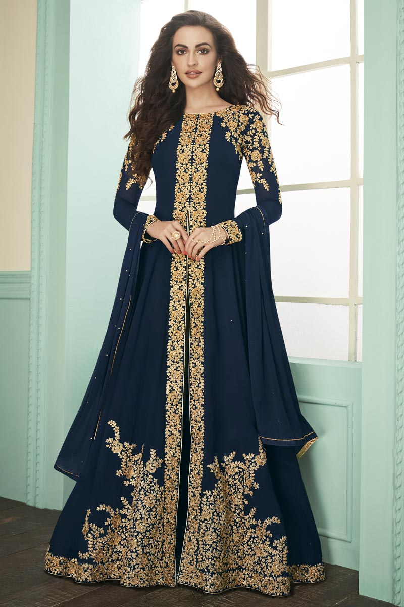Function Wear Georgette Embroidered Long Length Anarkali Suit In Navy Blue