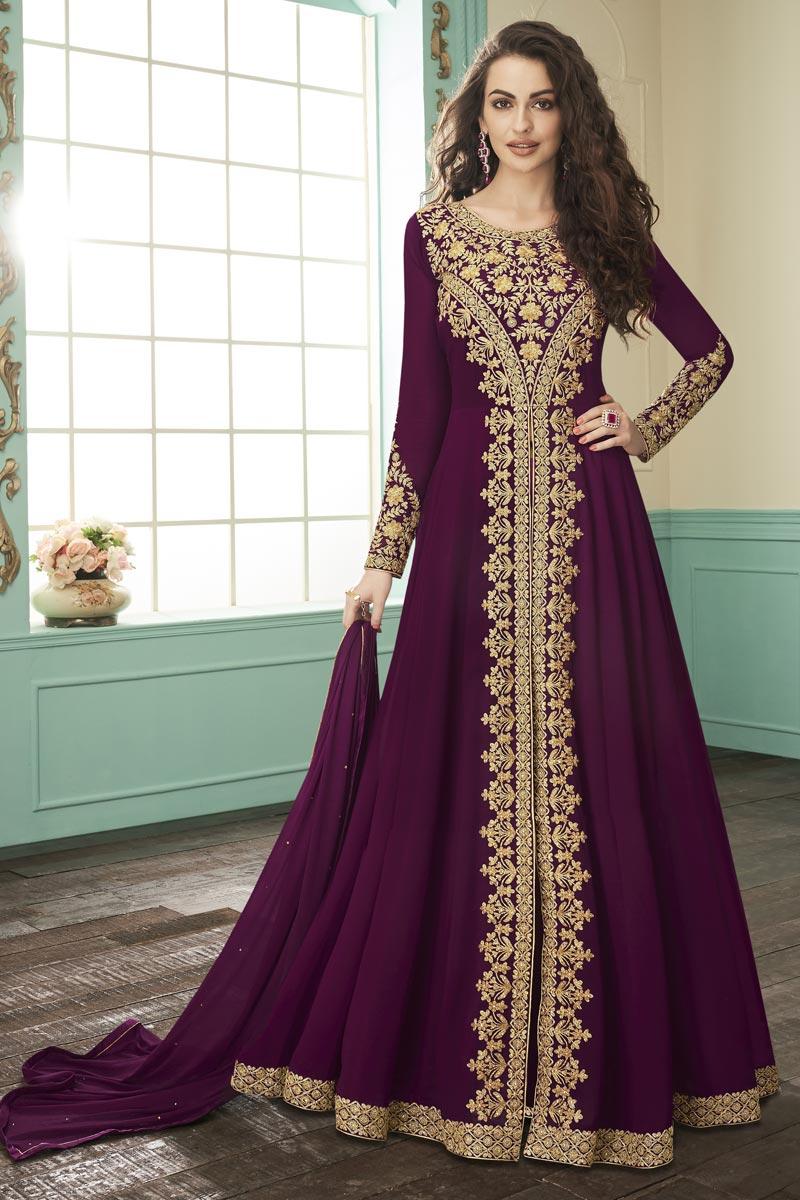 Georgette Function Wear Embroidered Purple Floor Length Anarkali Dress