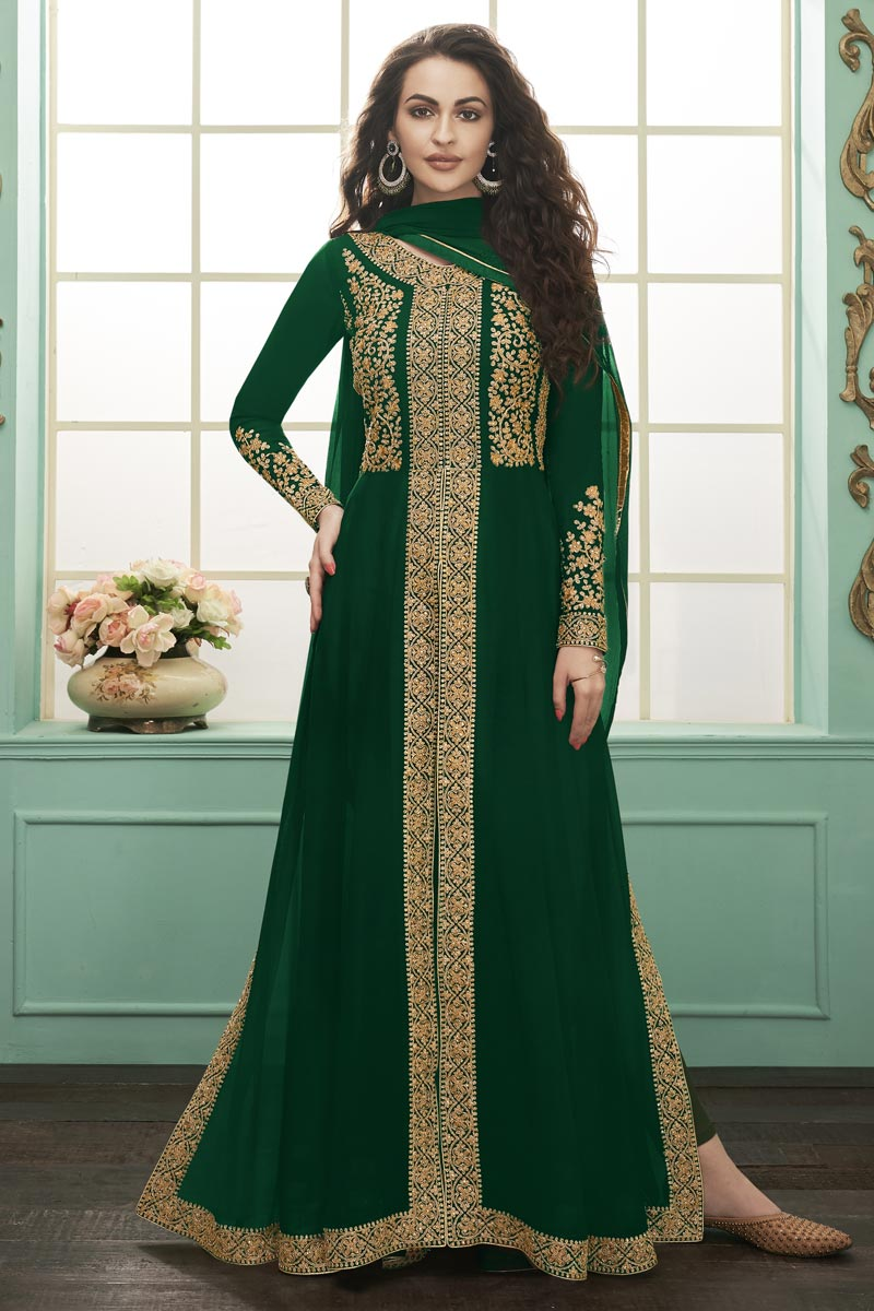 Function Wear Long Length Green Embroidered Anarkali Suit In Georgette