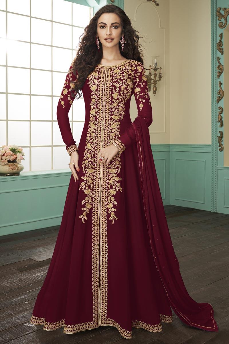 Georgette Function Wear Maroon Color Embroidered Floor Length Anarkali Dress