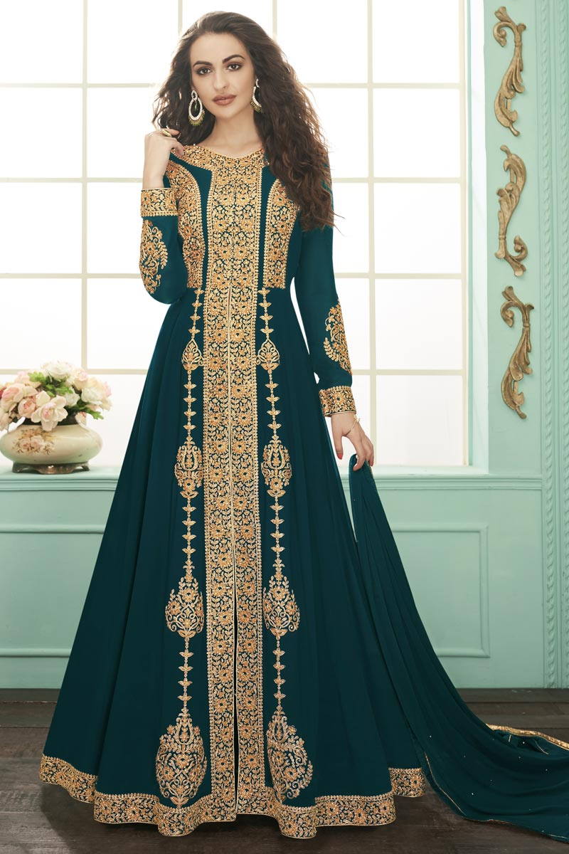 Georgette Teal Color Function Wear Embroidered Floor Length Anarkali Dress