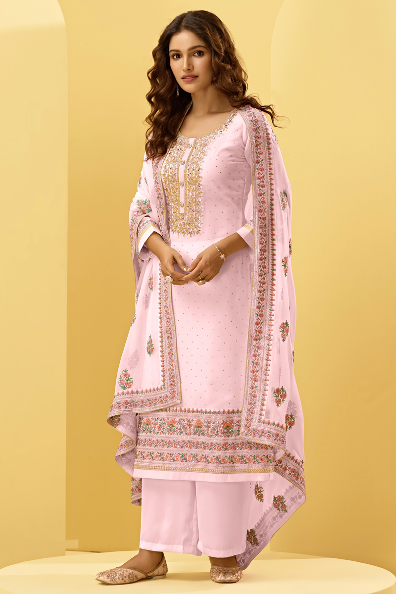 Pink Color Georgette Fabric Function Wear Embroidered Palazzo Salwar Kameez