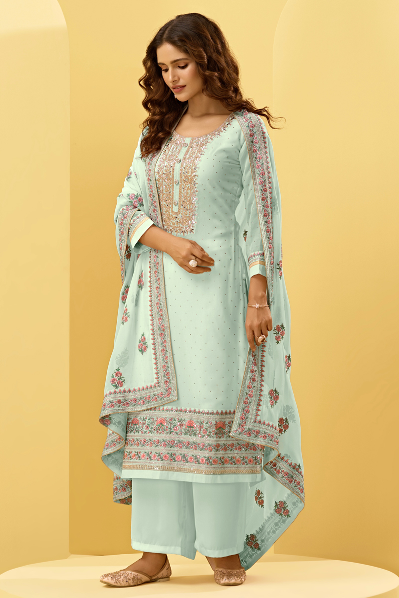 Georgette Fabric Festive Wear Embroidered Palazzo Salwar Suit In Light Cyan Color