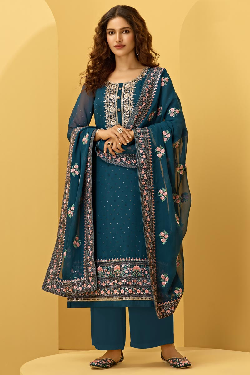 Teal Color Function Wear Fancy Embroidered Palazzo Suit In Georgette Fabric