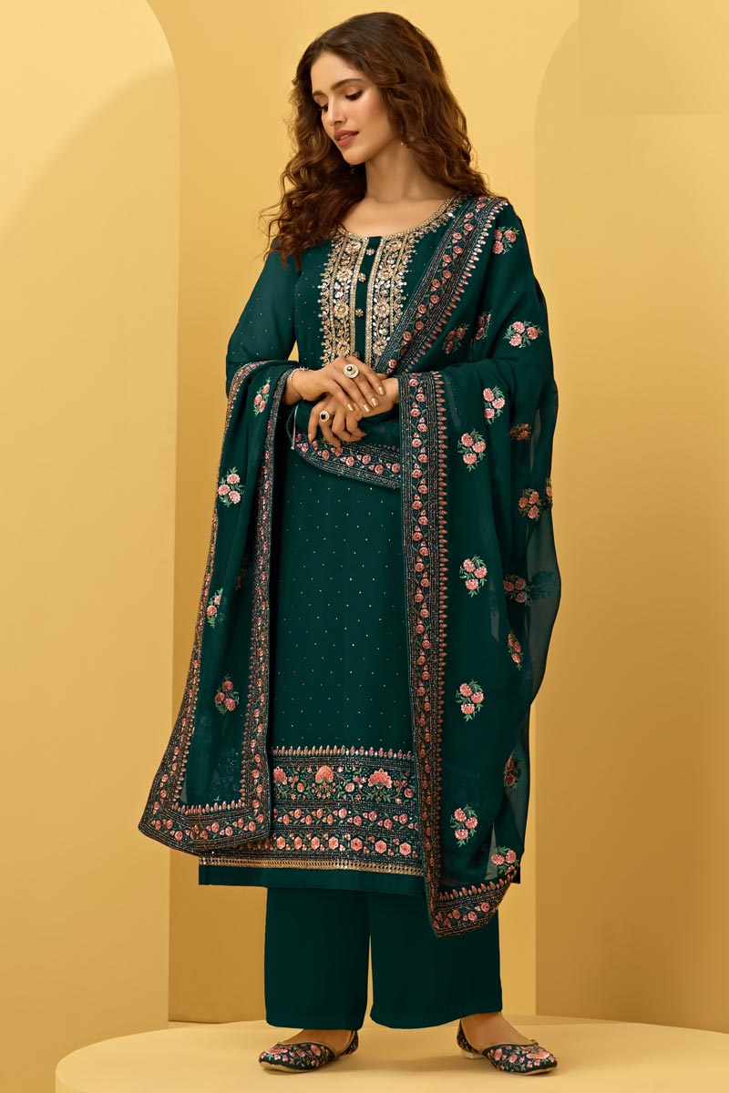 Function Wear Dark Green Color Embroidered Fancy Palazzo Suit In Georgette Fabric