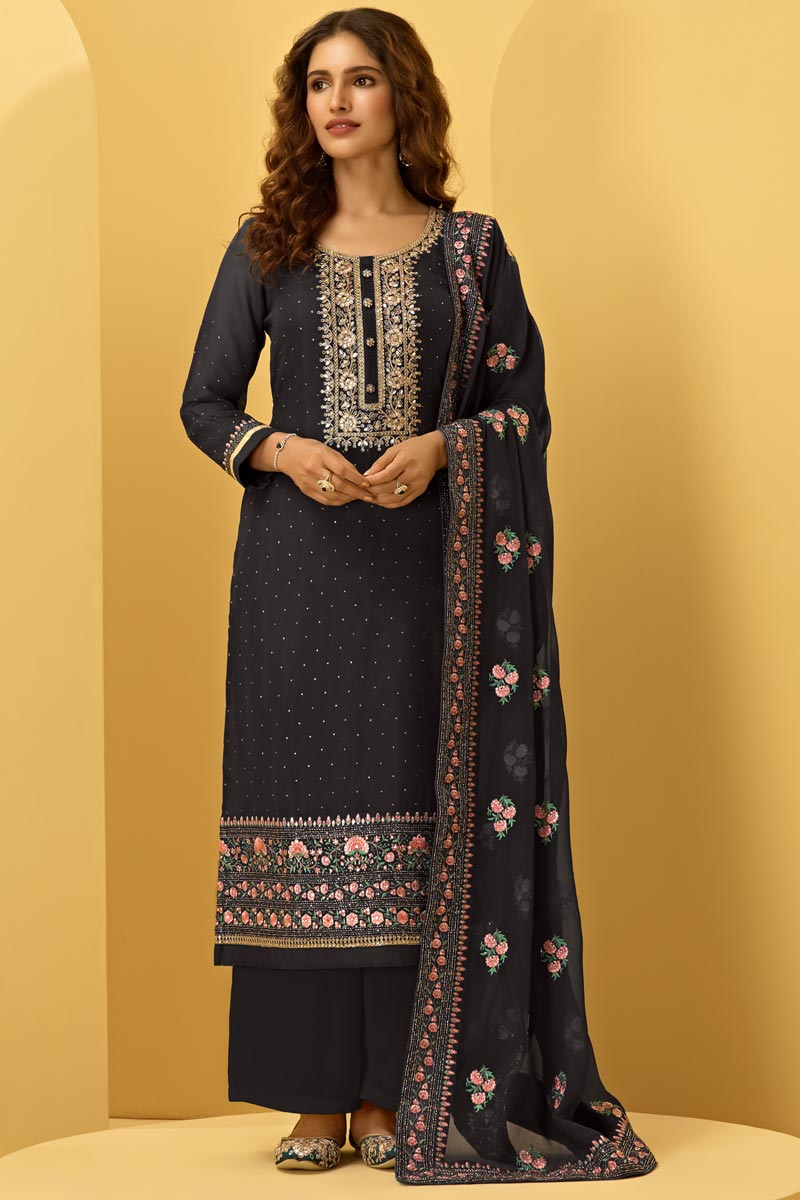 Black Color Function Wear Embroidered Fancy Georgette Fabric Palazzo Dress