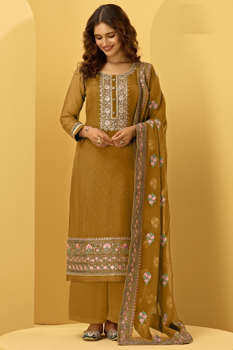 Function Wear Mustard Color Fancy Embroidered Palazzo Georgette Fabric Dress