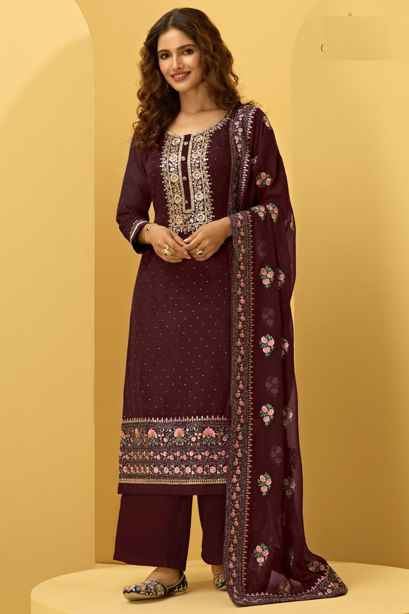 Function Wear Wine Color Fancy Georgette Fabric Embroidered Palazzo Dress