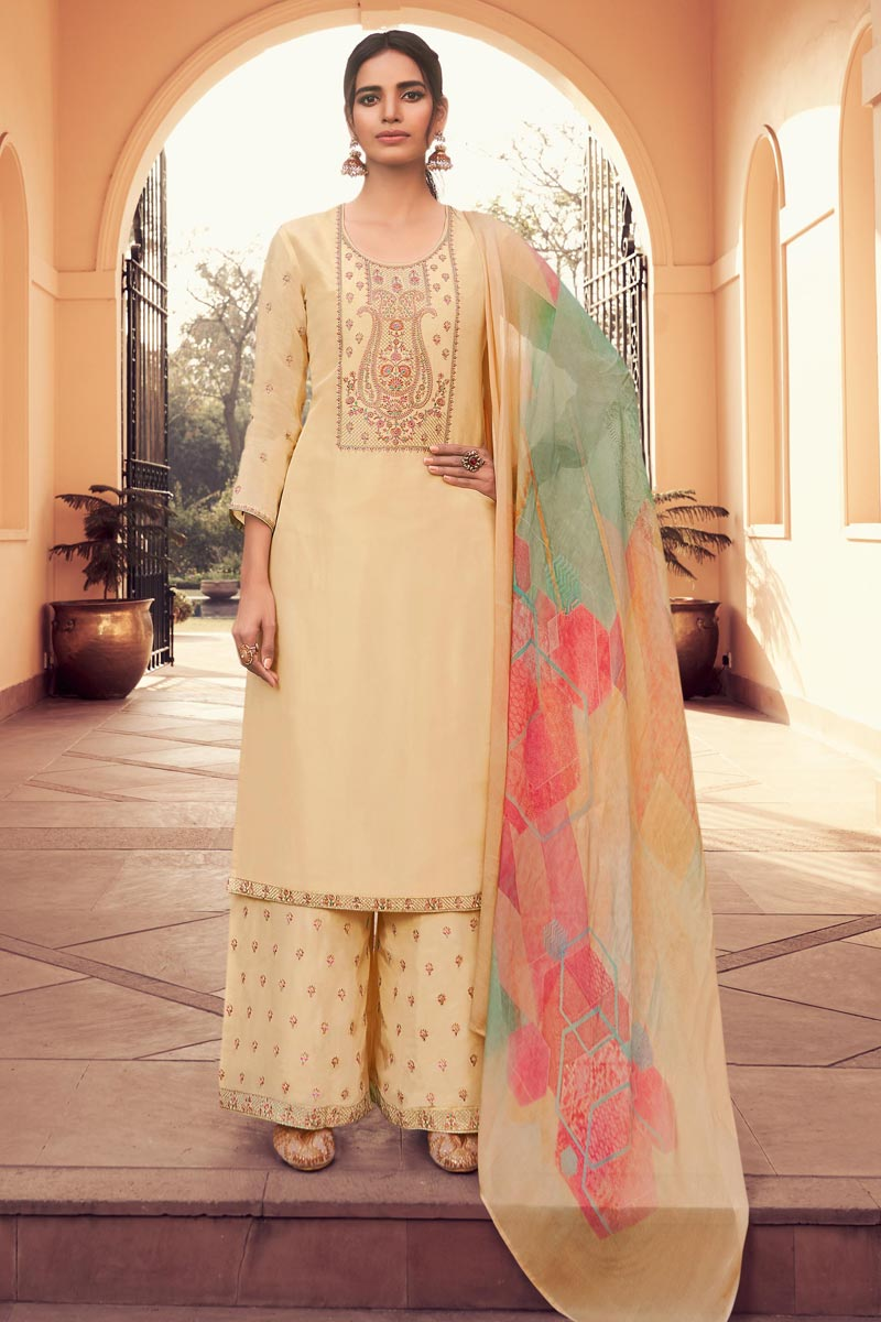 Chikoo Color Party Style Fancy Embroidered Uppada Silk Fabric Palazzo Dress