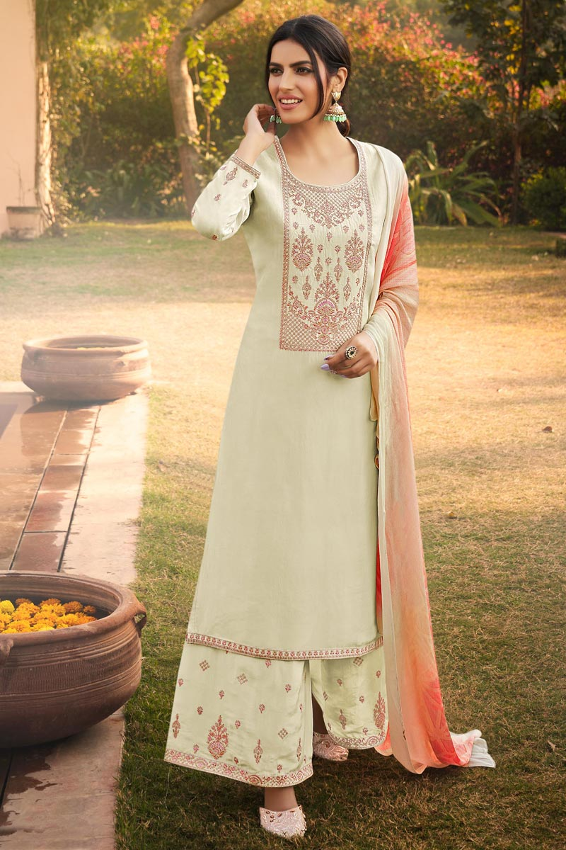 Uppada Silk Fabric Party Style Beige Color Fancy Embroidered Palazzo Suit
