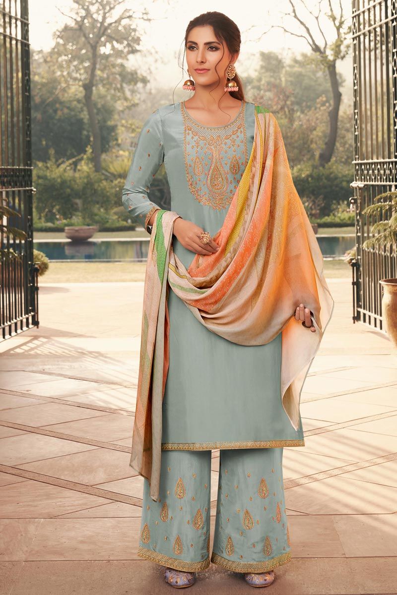 Light Cyan Color Uppada Silk Fabric Party Style Fancy Embroidered Palazzo Dress