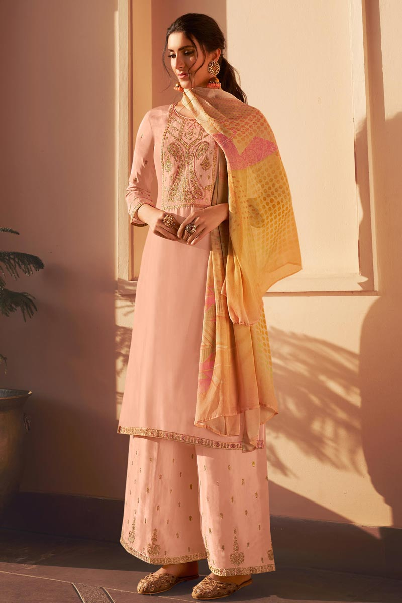 Uppada Silk Fabric Party Style Fancy Embroidered Palazzo Dress In Peach Color
