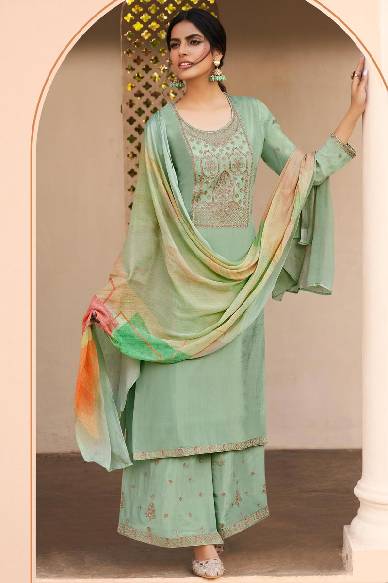 Sea Green Color Party Style Fancy Embroidered Uppada Silk Fabric Palazzo Suit