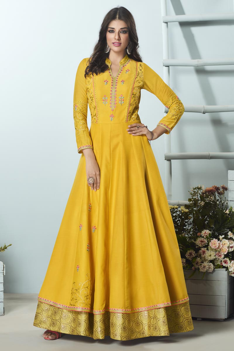 Designer Party Style Art Silk Fabric Yellow Color Embroidered Readymade Gown