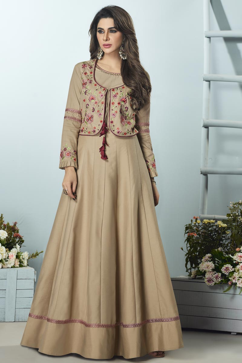 Festive Special Designer Cream Color Party Style Embroidered Art Silk Fabric Readymade Gown