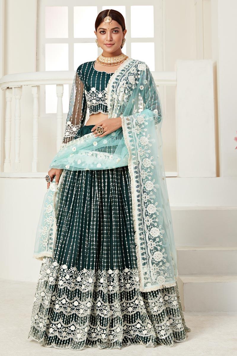 Net Fabric Wedding Wear Dark Green Color Thread Embroiderd Lehenga Choli