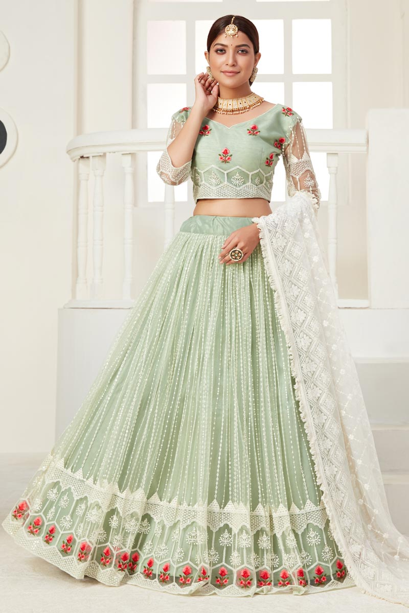 Sea Green Color Thread Embroiderd Reception Wear Lehenga Choli In Net Fabric