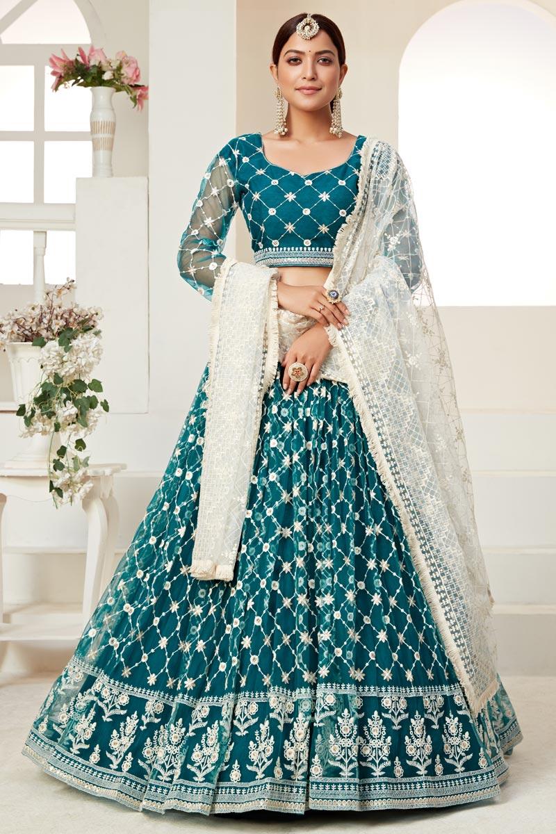 Sangeet Wear Net Fabric Thread Embroiderd Lehenga Choli In Teal Color