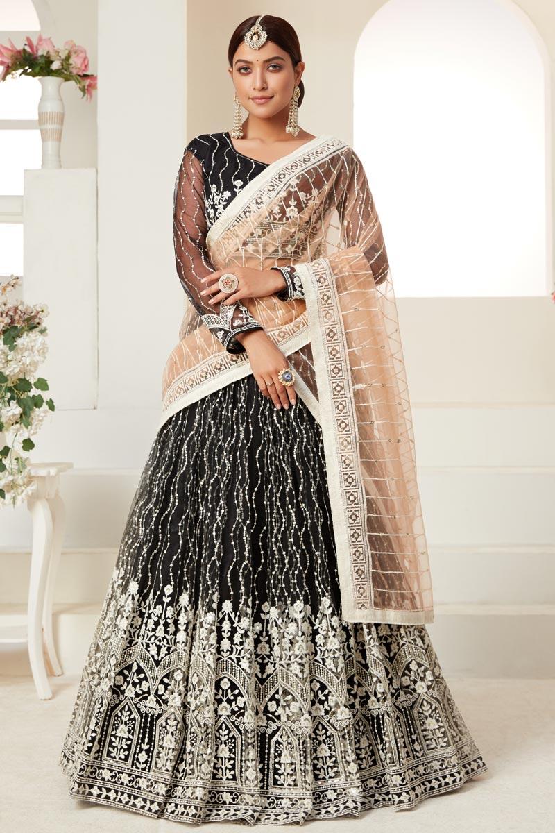Wedding Wear Black Color Net Fabric Thread Embroiderd Lehenga Choli