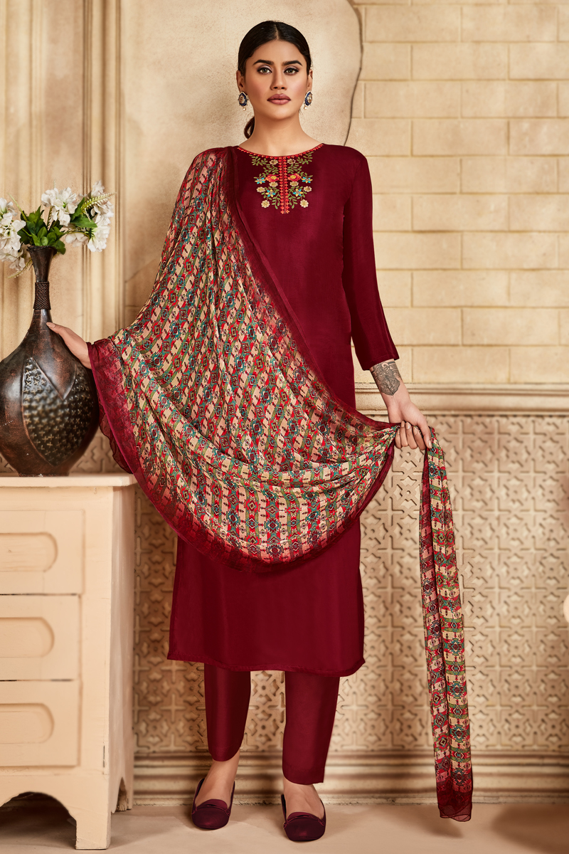 Maroon Color Viscose And Art Silk Fabric Function Wear Embroidered Suit
