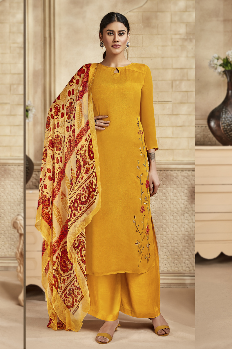 Occasion Wear Mustard Color Embroidered Palazzo Salwar Kameez