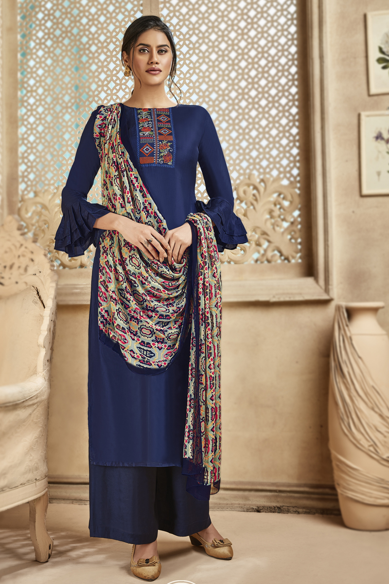 Embroidery Work Blue Color Viscose And Art Silk Fabric Palazzo Salwar Suit