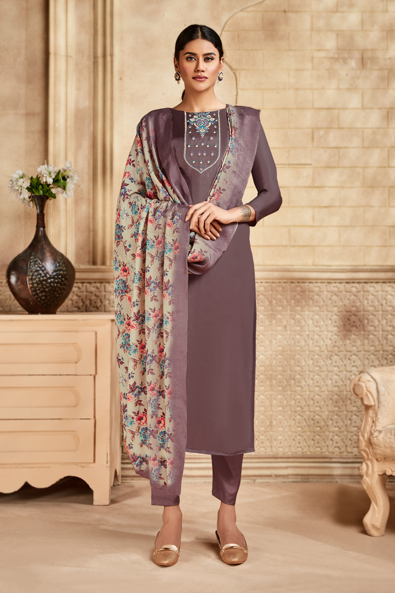 Viscose And Art Silk Fabric Wine Color Suit