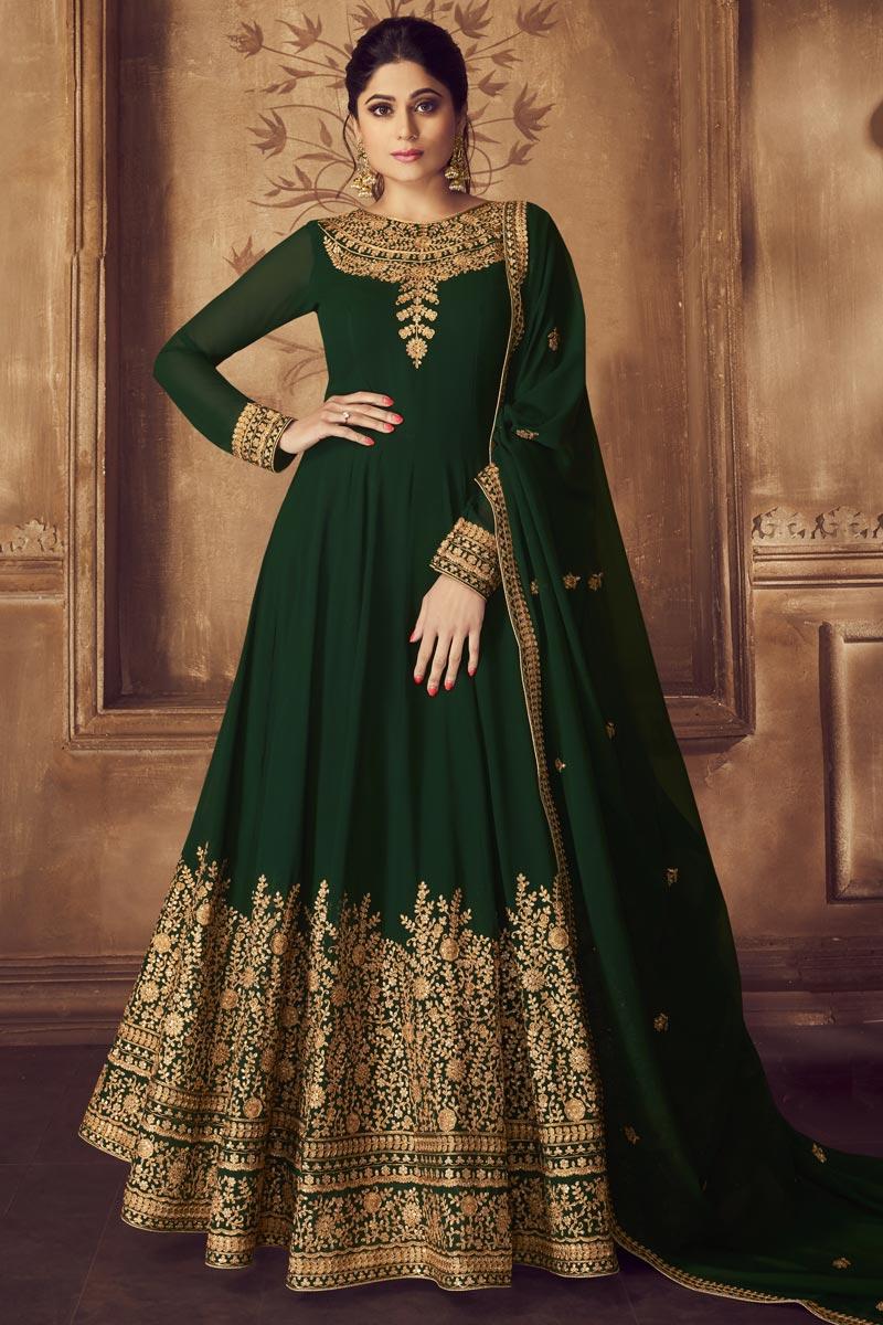 Shamita Shetty Georgette Function Wear Dark Green Embroidered Floor Length Anarkali Dress