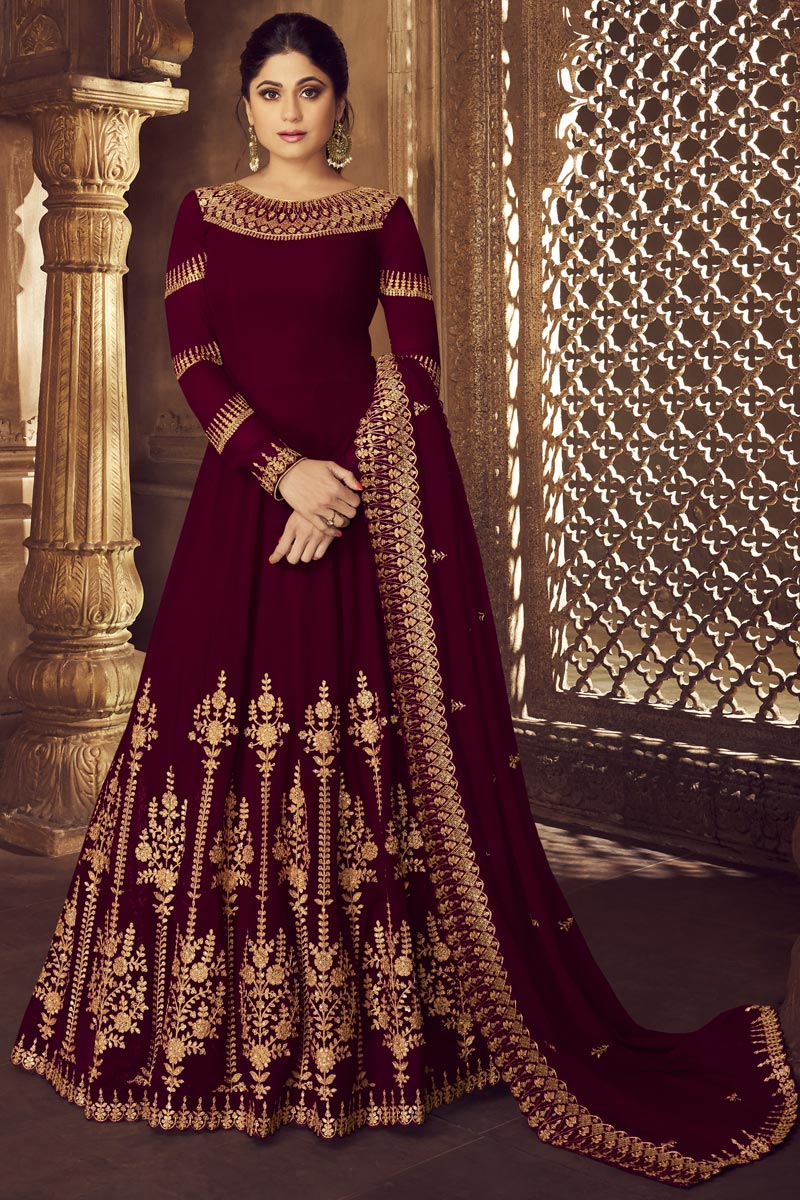 Shamita Shetty Maroon Georgette Function Wear Embroidered Long Length Anarkali Suit
