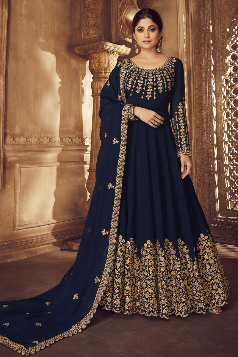 Shamita Shetty Function Wear Embroidered Navy Blue Floor Length Anarkali Dress In Georgette