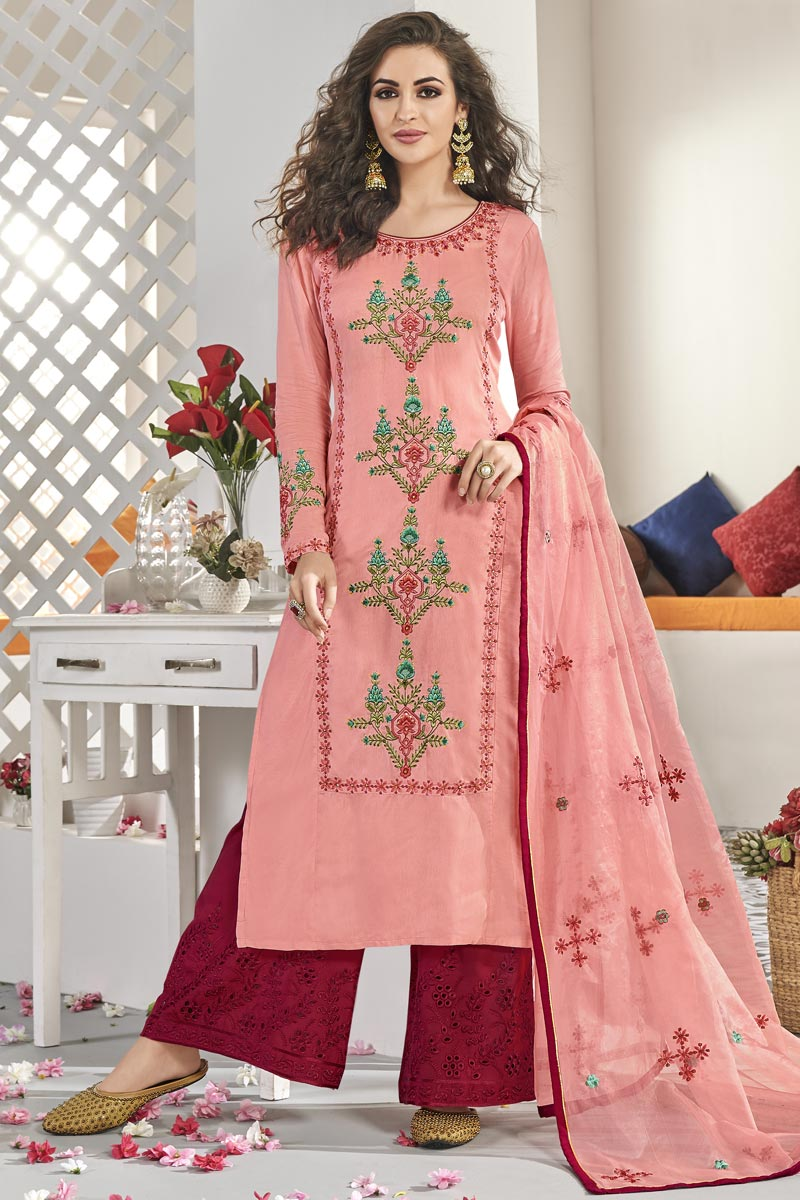 Pink Color Designer Embroidered Readymade Palazzo Salwar Kameez In Art Silk Fabric