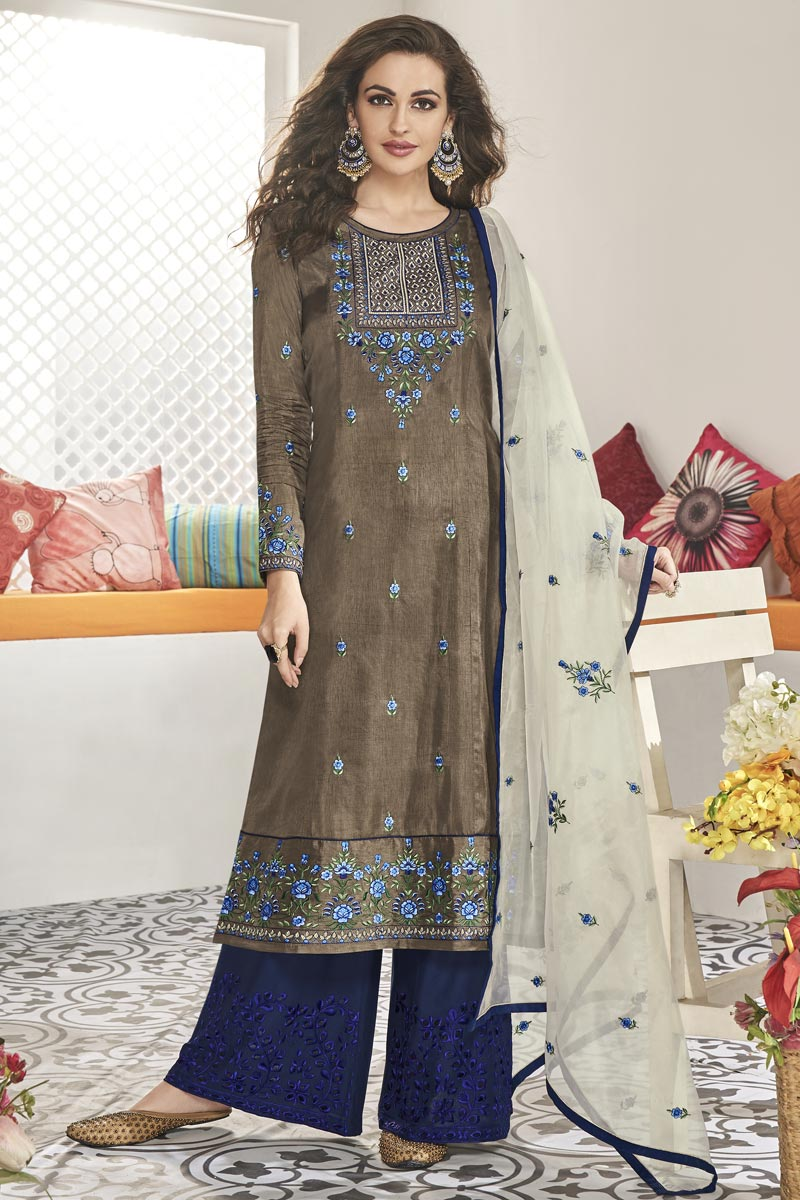 Art Silk Fabric Party Wear Readymade Palazzo Salwar Suit In Grey Color