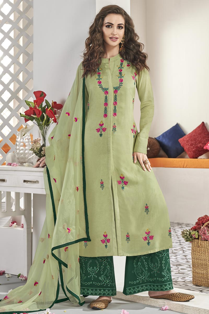 Khaki Color Art Silk Fabric Function Wear Embroidered Readymade Palazzo Suit