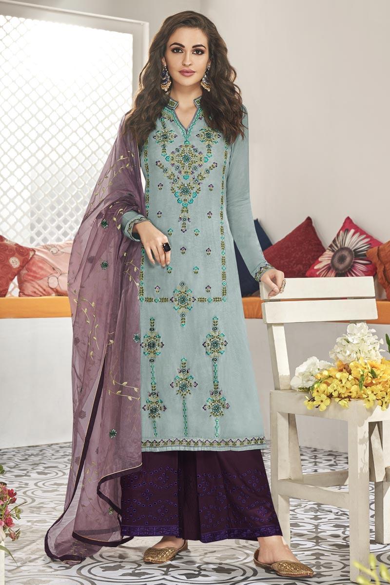 Embroidery Work Light Cyan Color Art Silk Fabric Wedding Wear Readymade Palazzo Salwar Suit