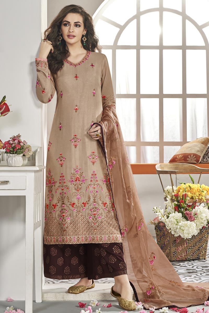 Art Silk Fabric Chikoo Color Sangeet Wear Readymade Palazzo Suit