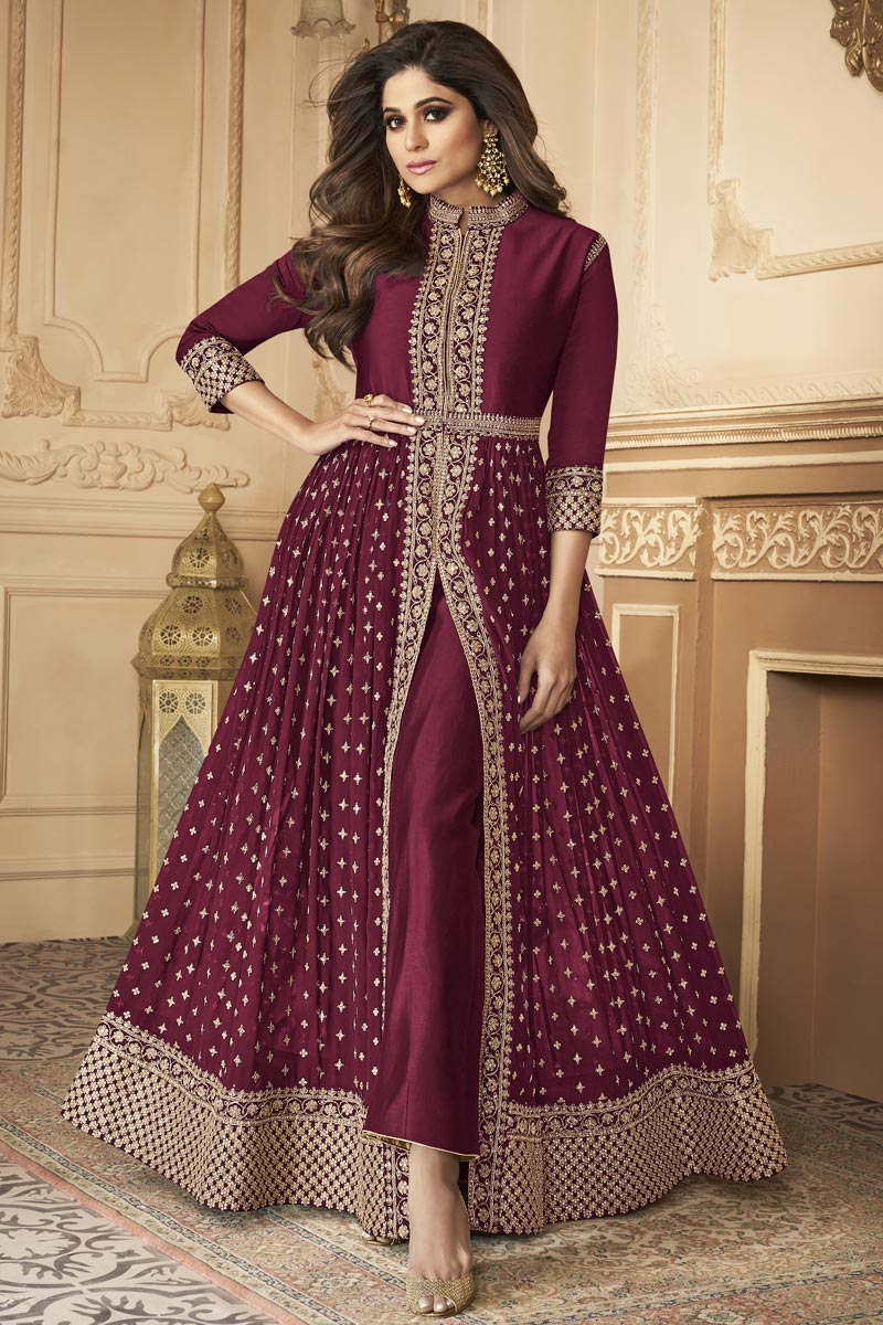 Shamita Shetty Georgette Fabric Burgundy Color Party Style Embroidered Long Anarkali Suit