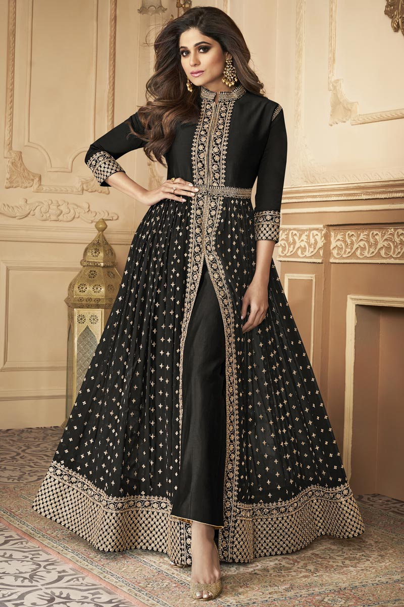 Shamita Shetty Party Style Black Color Georgette Fabric Embroidered Long Anarkali Suit