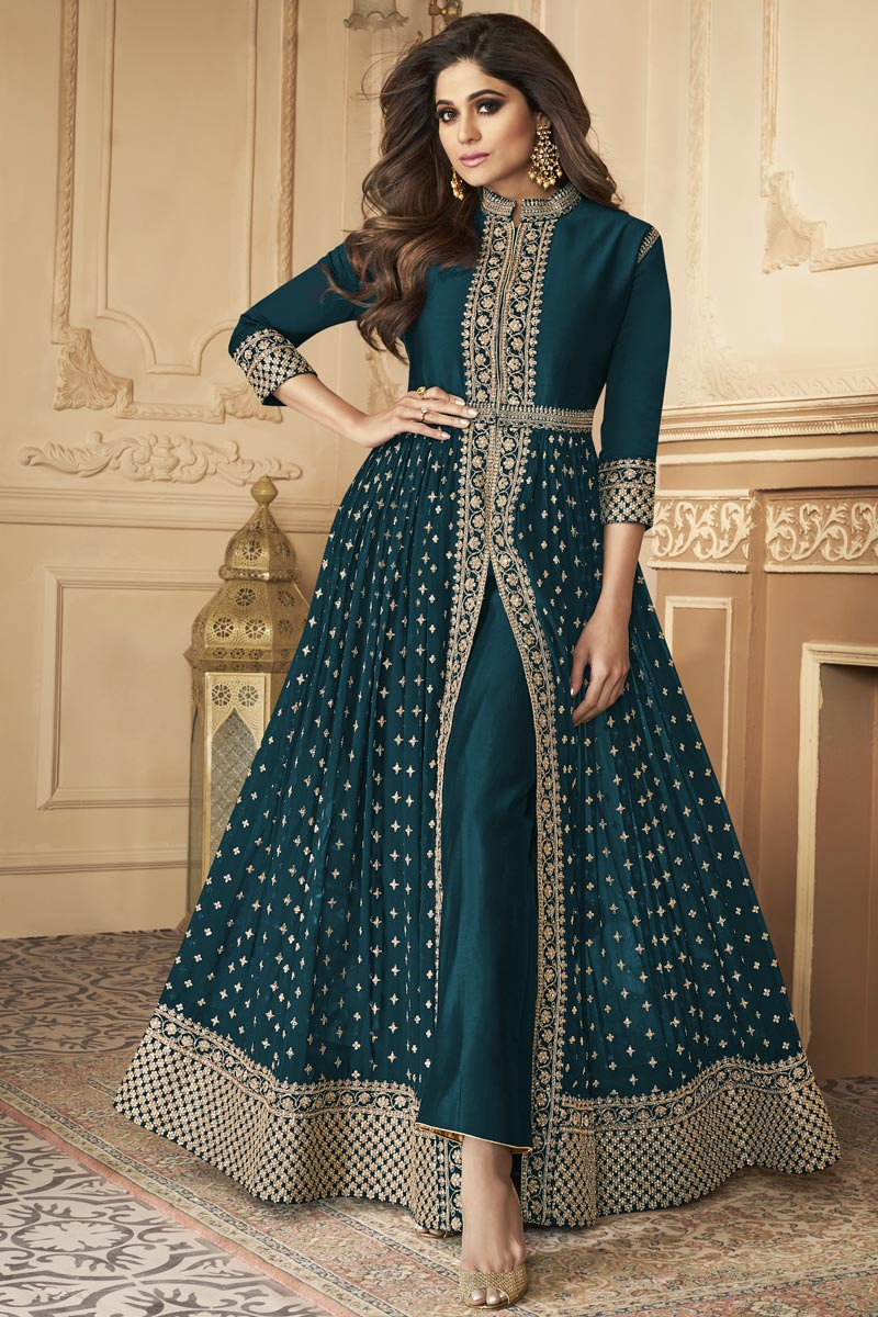 Shamita Shetty Party Style Georgette Fabric Embroidered Anarkali Dress In Teal Color