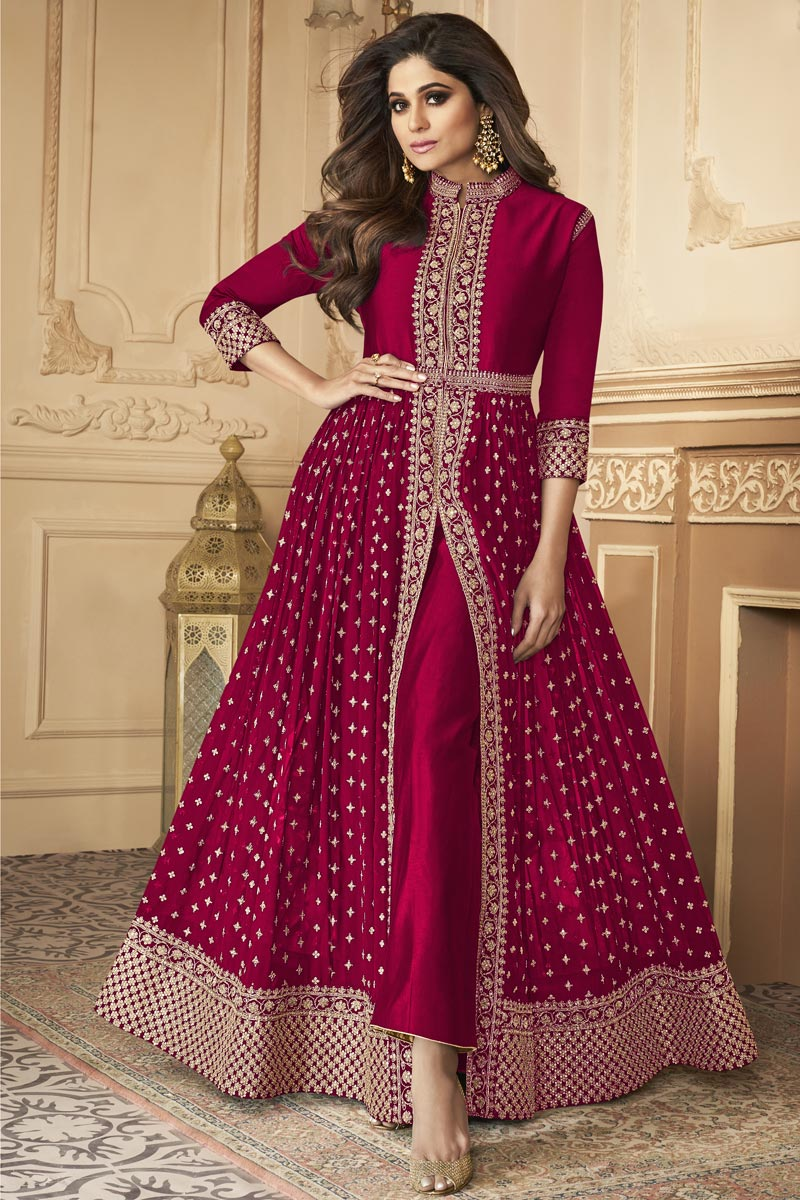 Shamita Shetty Georgette Fabric Rani Color Party Style Embroidered Long Anarkali Suit