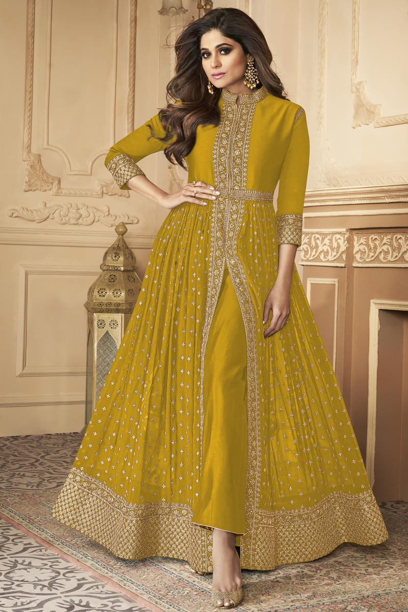 Shamita Shetty Yellow Color Party Style Embroidered Anarkali Dress In Georgette Fabric