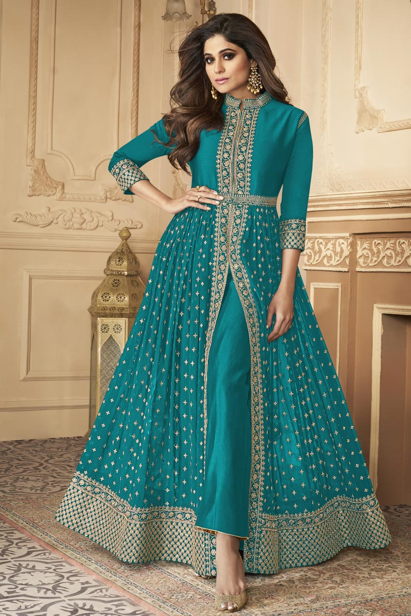 Shamita Shetty Party Style Cyan Color Georgette Fabric Embroidered Long Anarkali Suit