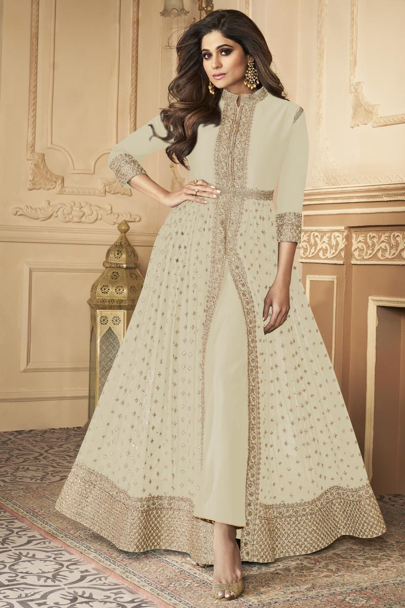 Shamita Shetty Party Style Embroidered Off White Color Anarkali Dress In Georgette Fabric