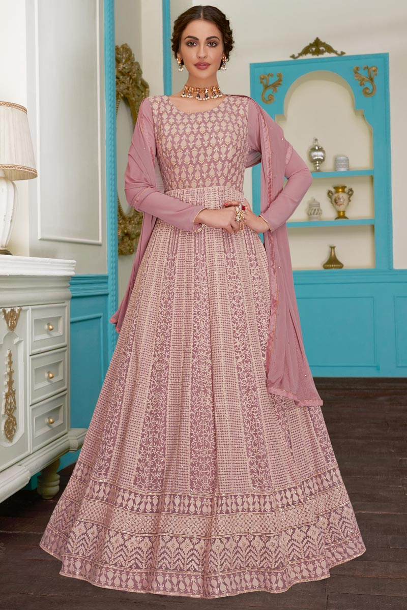 Eid Special Fancy Georgette Fabric Function Wear Embroidered Pink Anarkali Suit