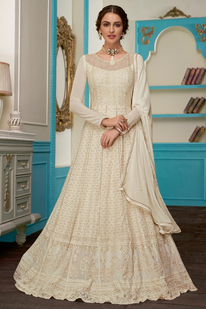 Eid Special Off White Fancy Embroidered Function Wear Anarkali Dress In Georgette Fabric