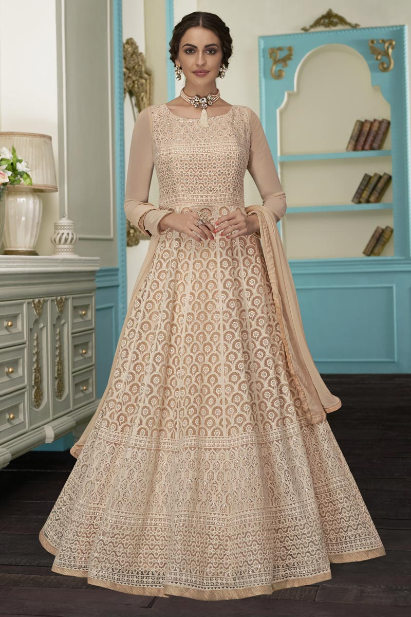 Eid Special Georgette Fabric Fancy Embroidered Function Wear Anarkali Dress In Chikoo Color