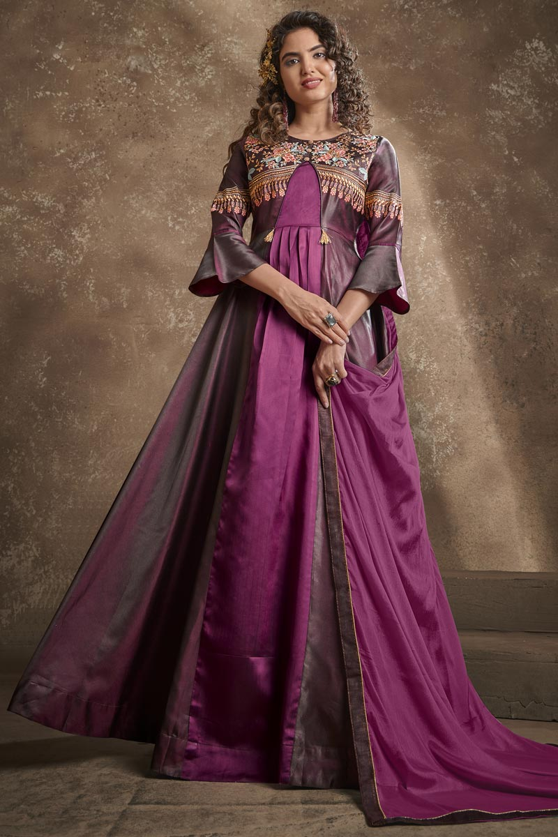 Function Wear Wine Color Designer Embroidered Readymade Gown In Art Silk Fabric