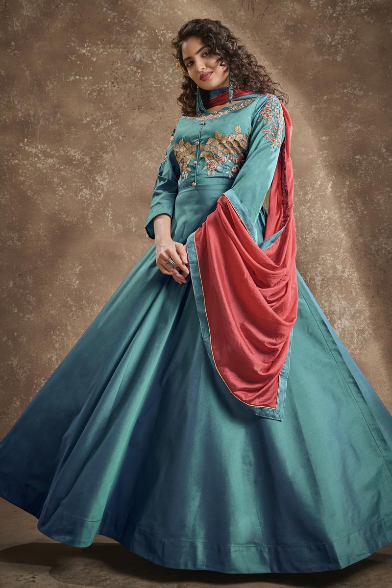 Designer Cyan Color Function Wear Embroidered Art Silk Fabric Readymade Gown