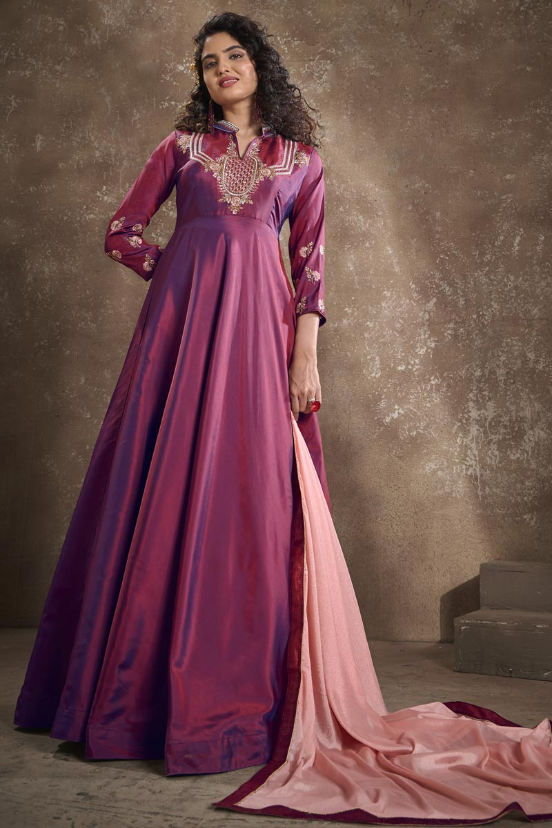 Function Wear Embroidered Burgundy Color Art Silk Fabric Designer Readymade Gown